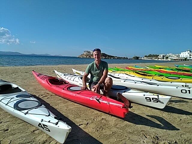 En formation kayak de mer